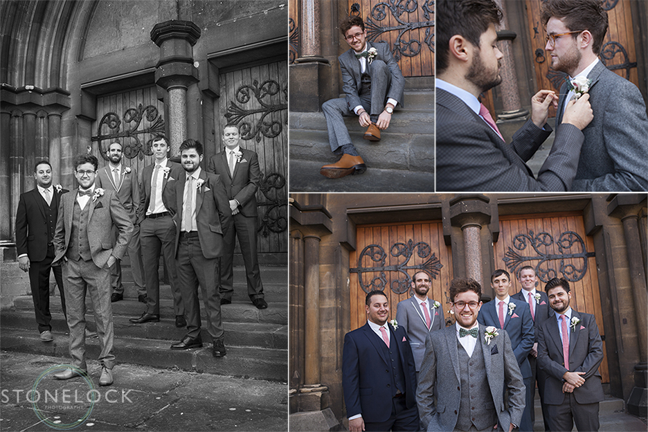 The groom and the groomsmen stand outside Woodlands Church in Bristol for some wedding photography