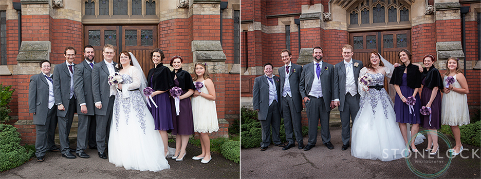 The bridal party stand outside the front of MMitcham Lane Baptist Church for their wedding photography