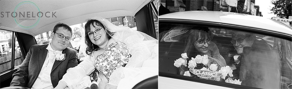Wedding photography, the bride and groom in the wedding car outside the Church, they are peering out of the rear window