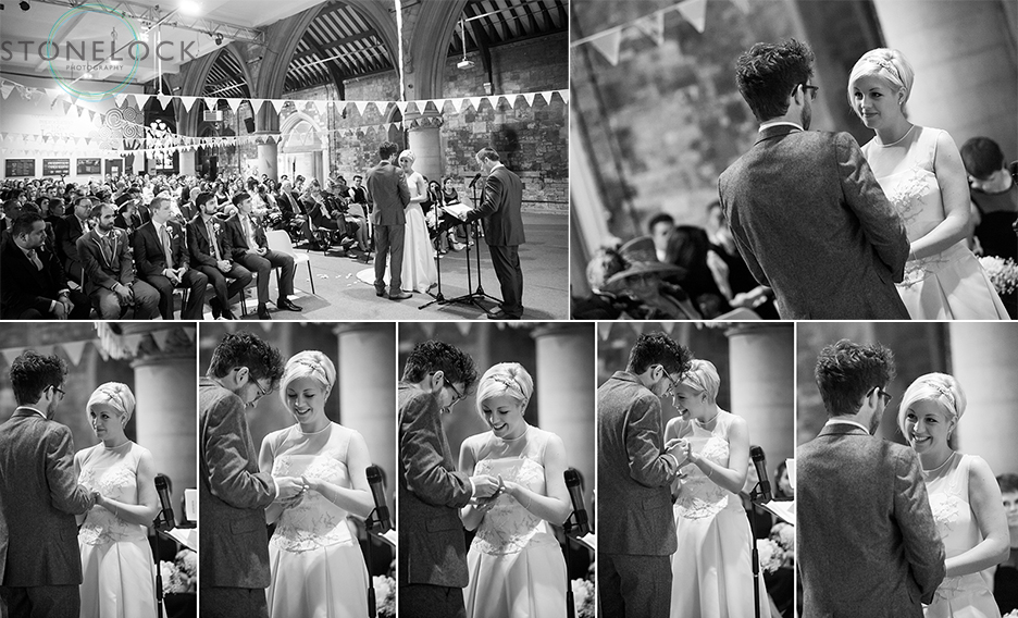 A photo montage of the bride and groom saying their wedding vows during their wedding ceremony at Woodlands Church in Bristol. The photo is in black and white
