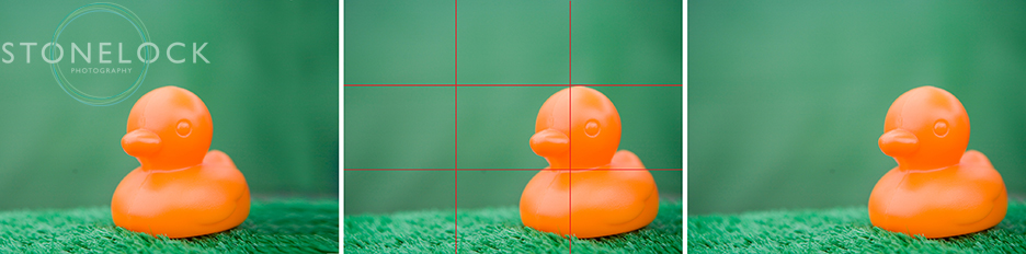 An orange plastic duck is used as an example of the rule of thirds in composing a photograph