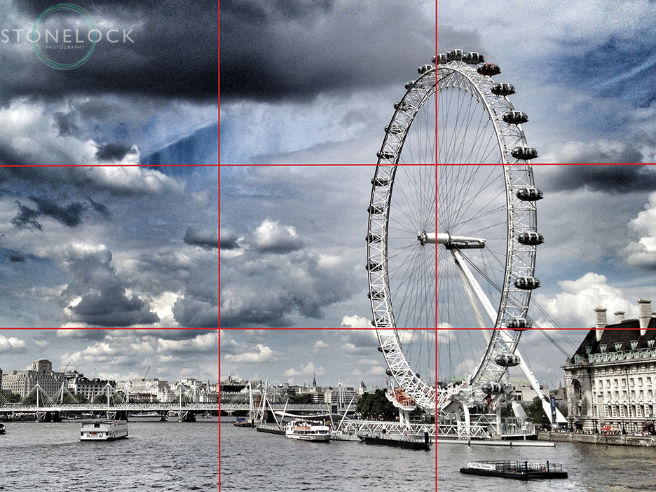 The London Eye is used as an example of the rule oh thirds in composing a photo