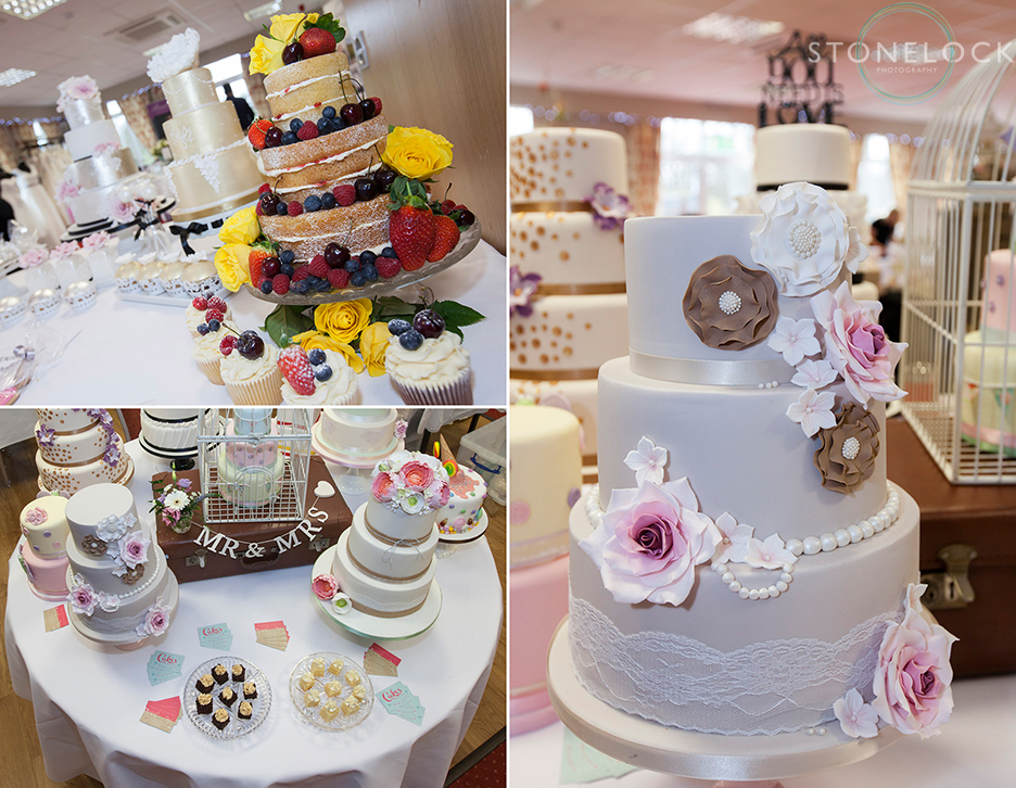 Cakes photographed by Stonelock Photography at Oaks Wedding Fair in Carshalton with Events by Inspire