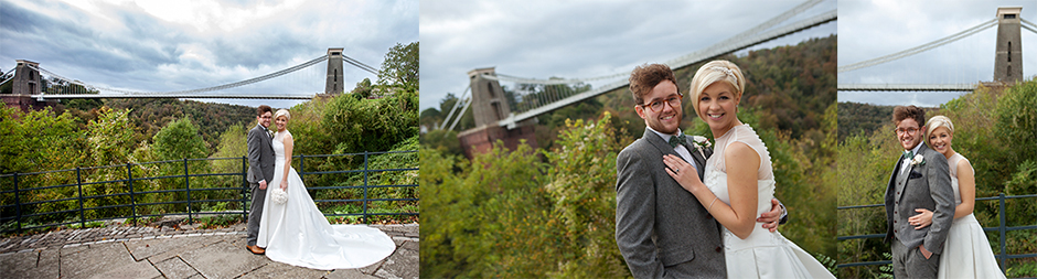 Bride and Goorm on the Clifton Suspension Bridge in Bristol