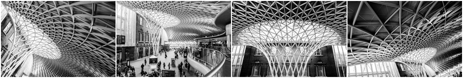 Kings Cross Station roof in black and white
