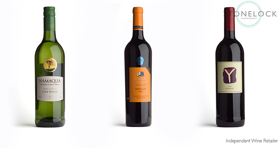 Wine bottles photographed on a white background for product photography for e-commerce