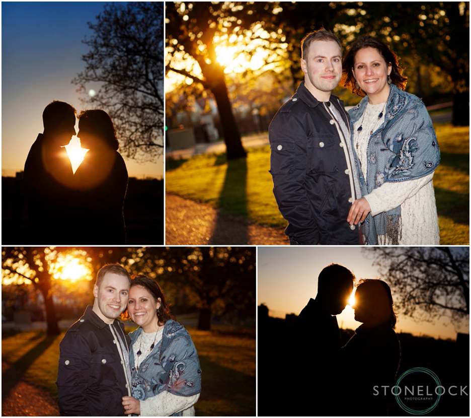 An engagement photo shoot in Finsbury Park, North London during the golden hour and the sun sets
