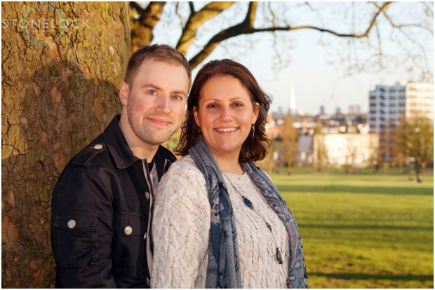 Engagement photo shoot in Finsbury park, North London overlooking the London skyline and the shard during golden hour just before the sun sets
