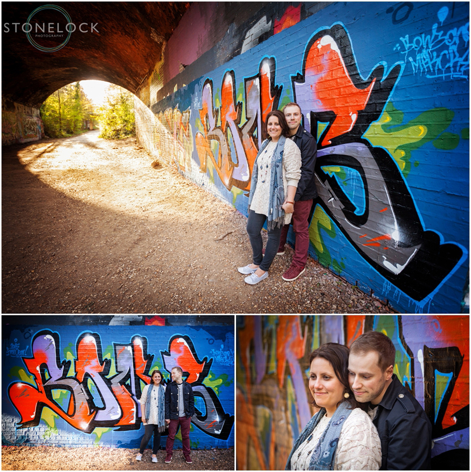 Engagement photo shoot by the graft wall on the Parkland Walk in North London