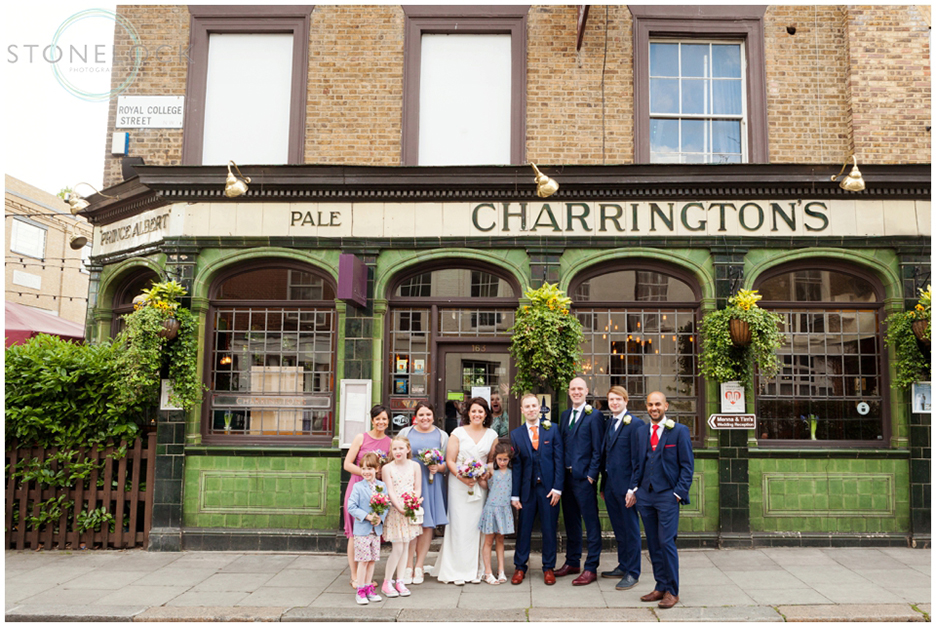 Wedding party at the Prince Albert Pub in North London