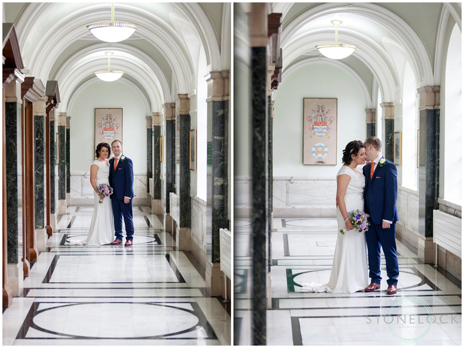 A bride and groom at Islington Town Hall