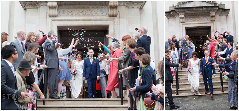 The confetti exit after the wedding ceremony at Islington Town Hall