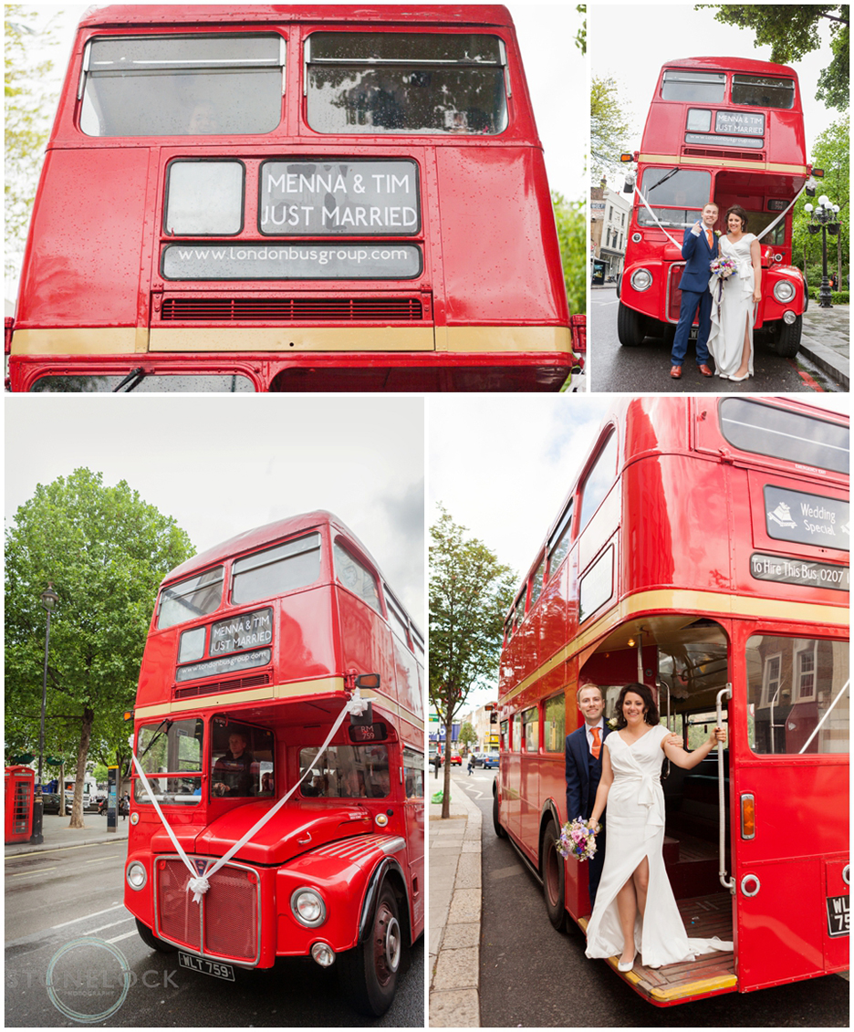 A red wedding route master bus