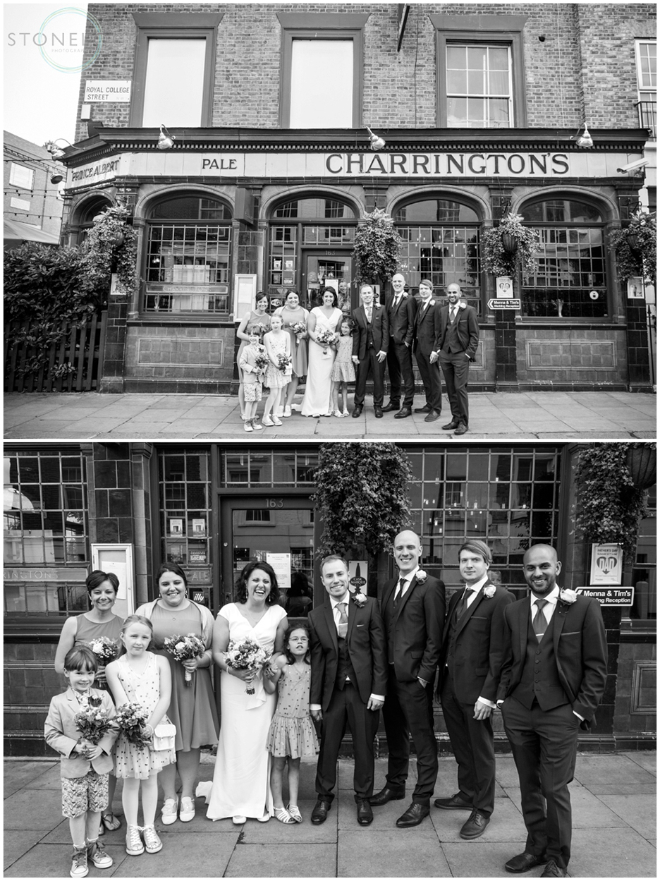 The wedding party at the Prince Albert Pub in Camden, North London