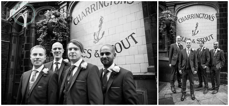 The groom and his groomsmen at the Prince Albert Pub in North London