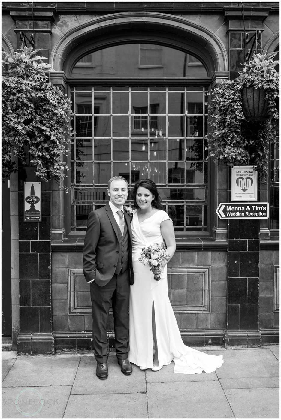 The bride and groom at the Prince Albert Pub in Camden, North London