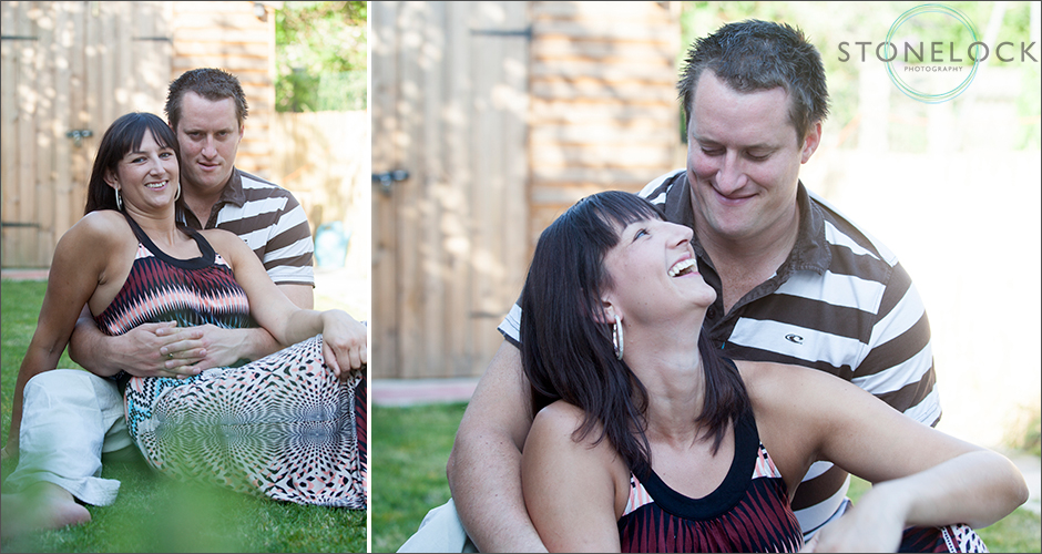 Engagement photos at home in the garden - celebrating their first home together!