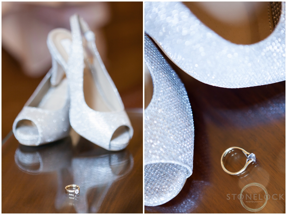 Wedding shoes with engagement ring