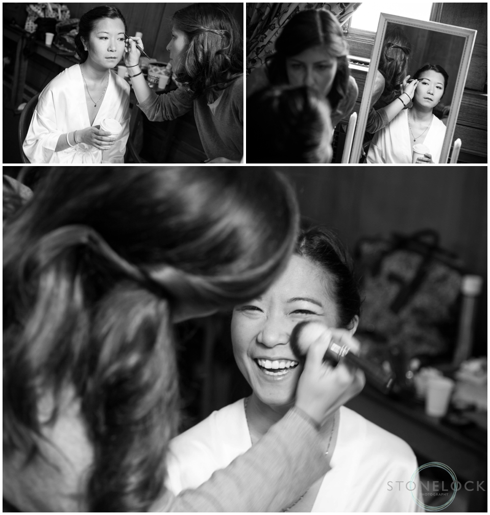 A bride having her make-up done