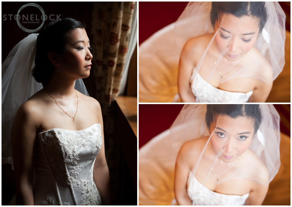 A bride taking a quiet moment before the wedding ceremony