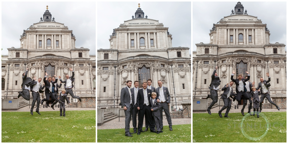 Groom and his groomsmen outside Methodist Central hall Westminster, London