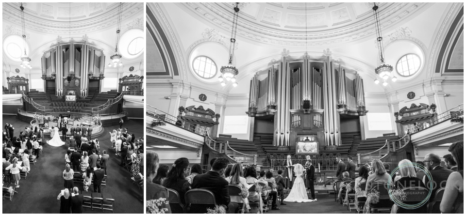 Wedding ceremony at Methodist Central Hall Westminster, London