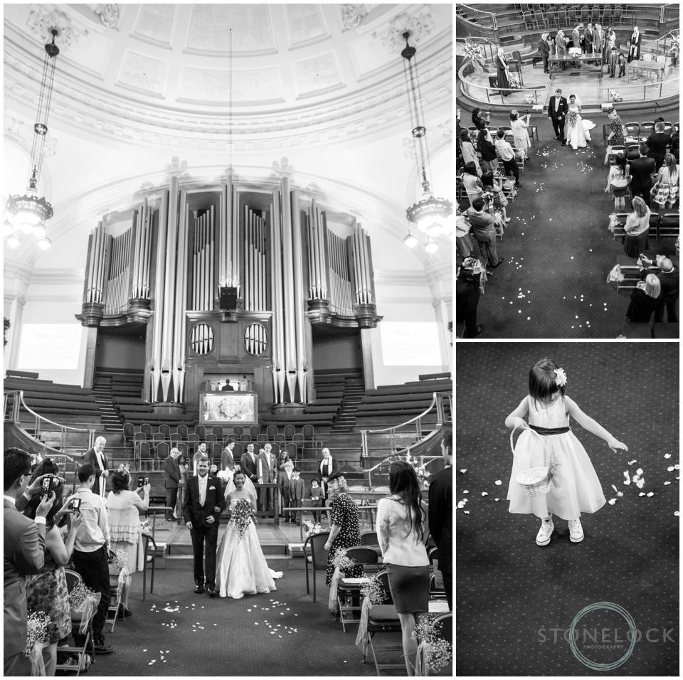 A wedding at Methodist Central Hall Westminster, London