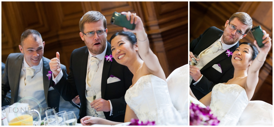 Bride and groom taking a selfie