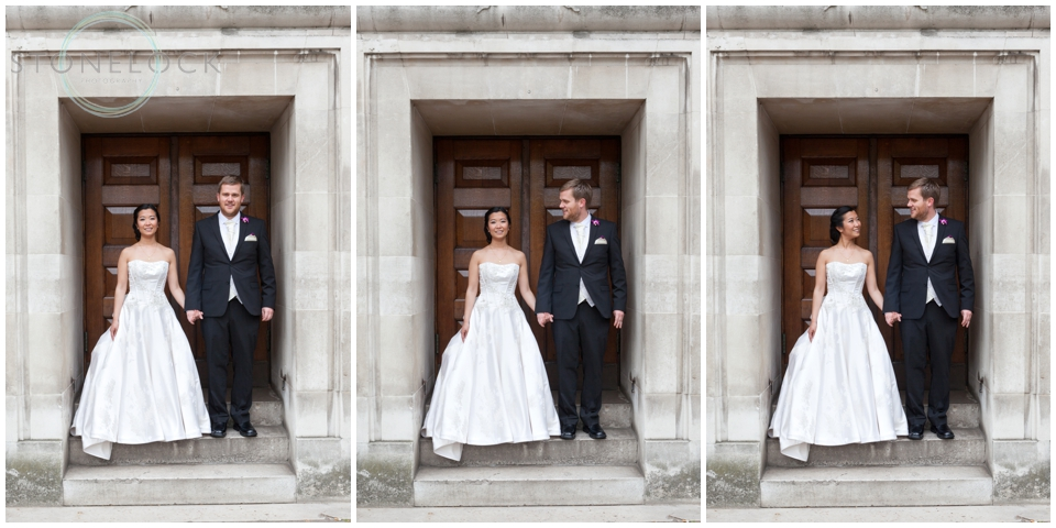 Bride and groom portraits at Methodist Central Hall Westminster, London