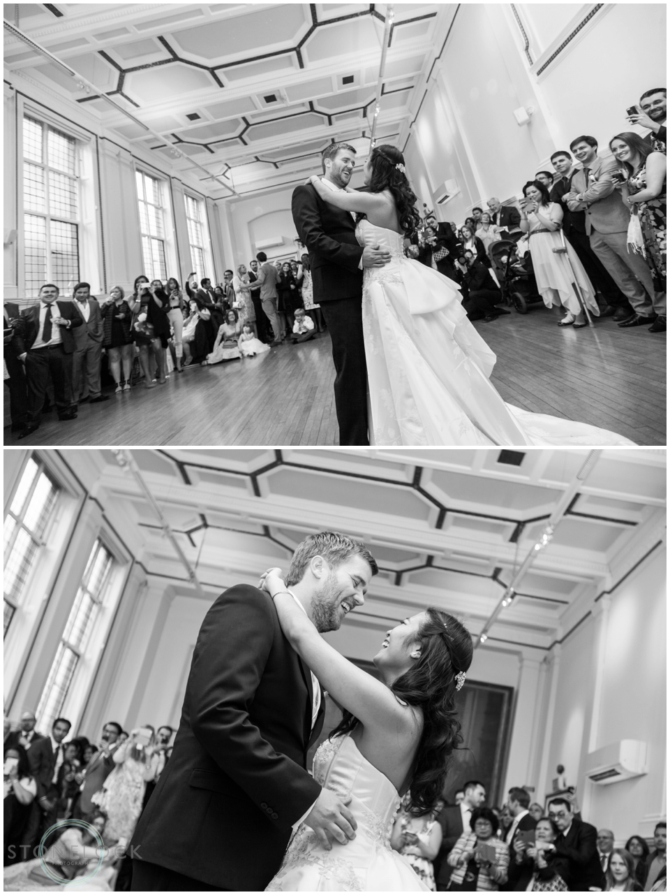 A bride and groom have their first dance at St Bride's Foundation in Fleet Street London