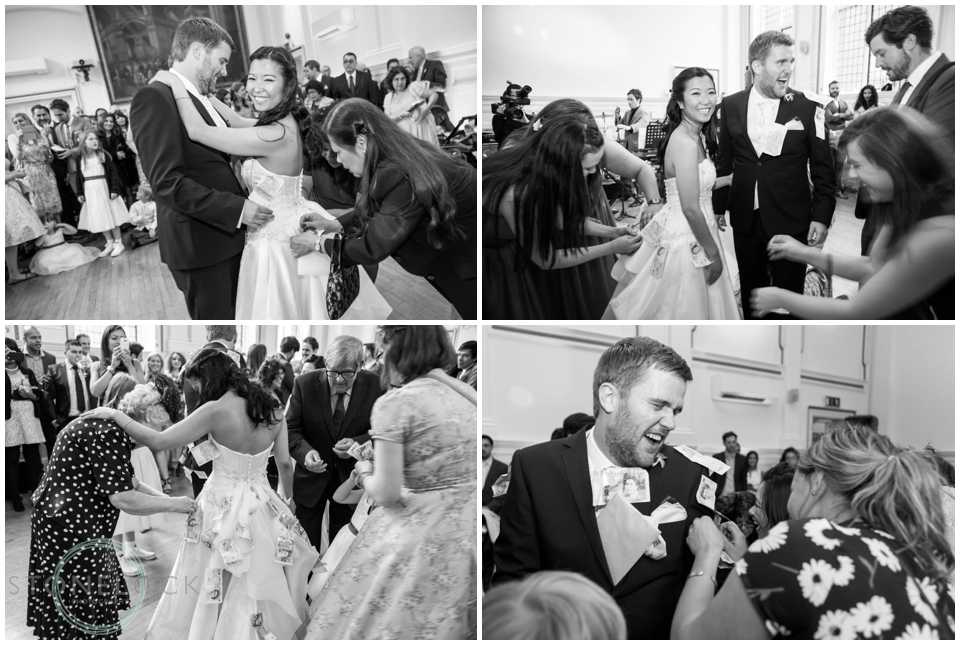 The Filipino tradition of pinning money on the bride and groom during the first dance