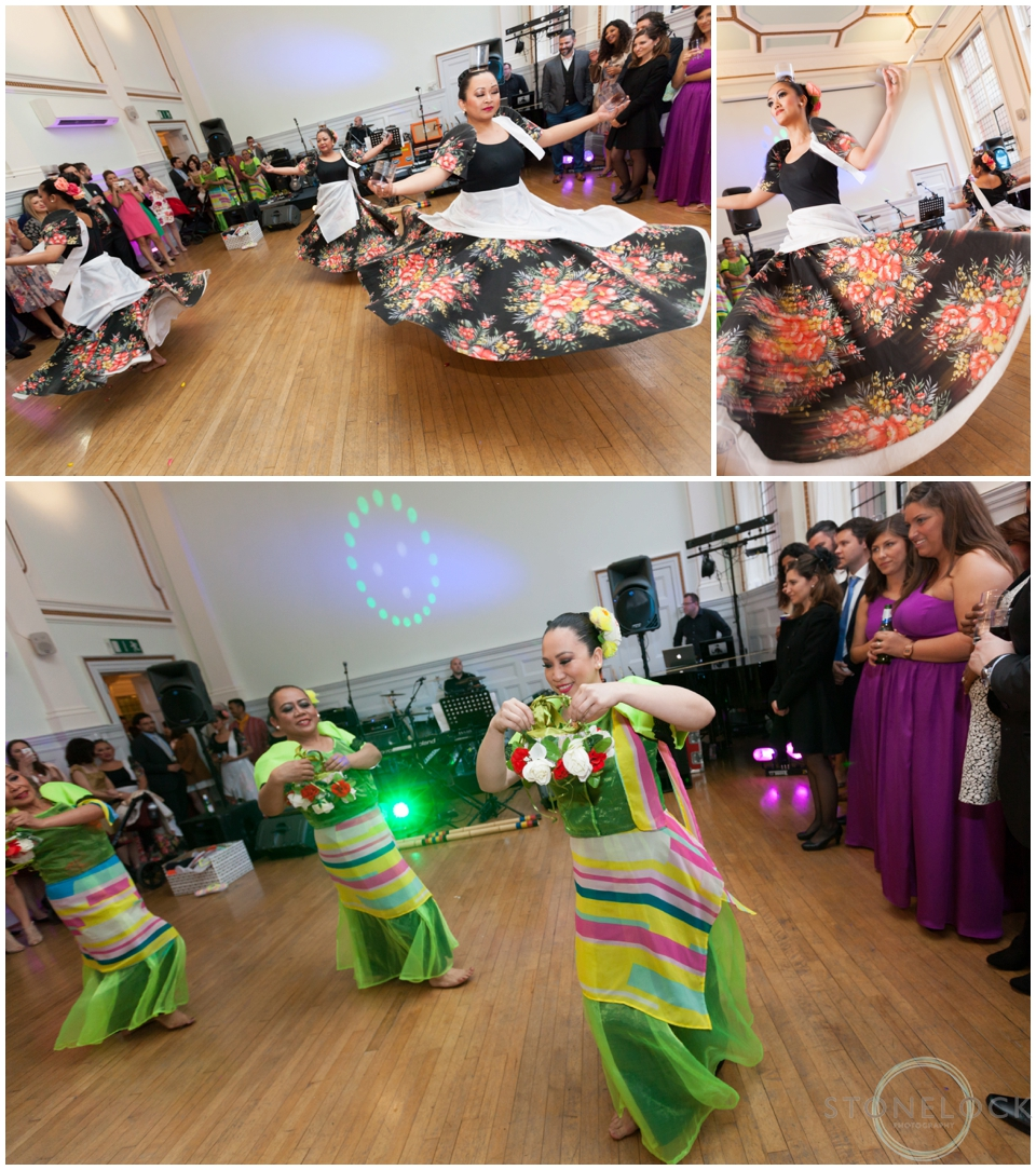 Traditional Filipino Wedding dancing by LK Dance Company at a wedding reception at St Bride's Foundation in Fleet Street, London