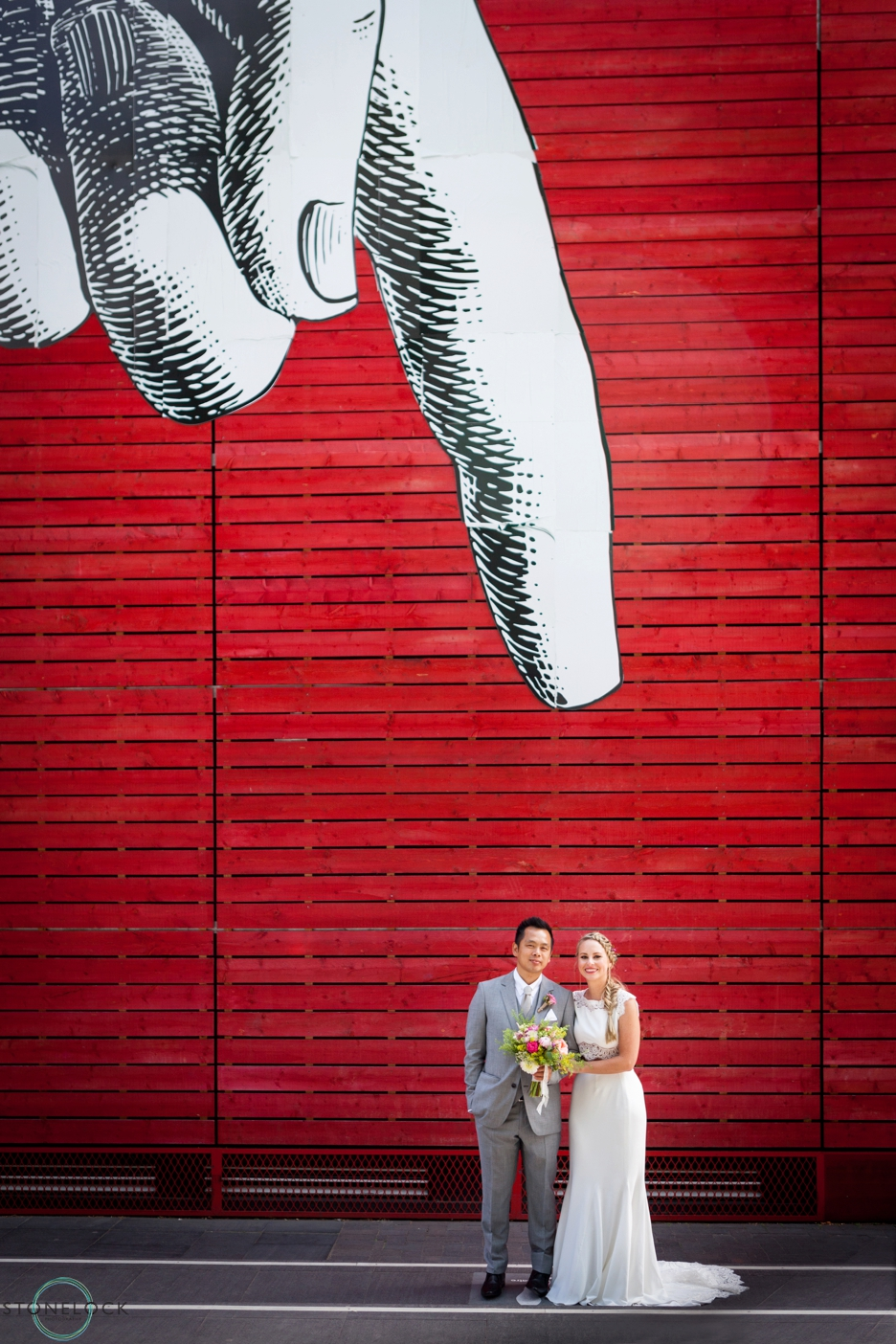 Bride and Groom outside the National Theatre on London's Southbank