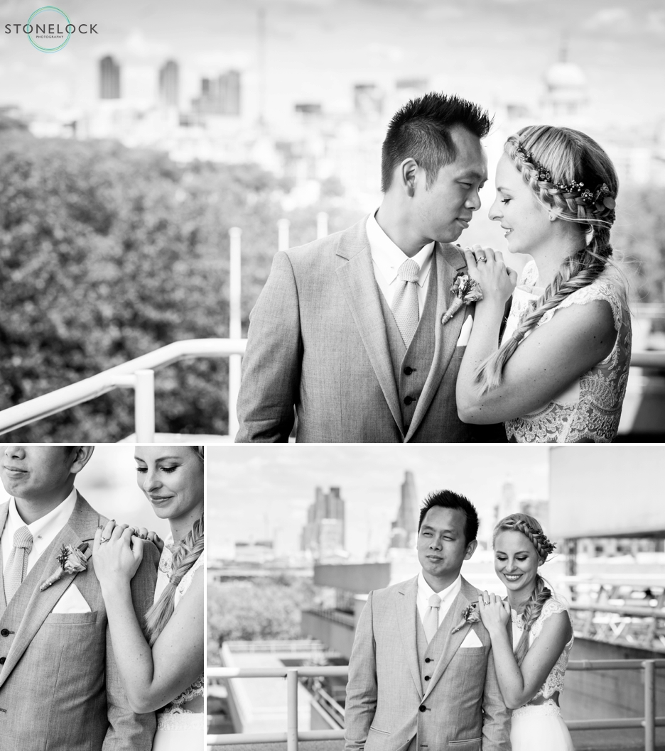 Bride and Groom on the Deck at the National Theatre over looking the London skyline