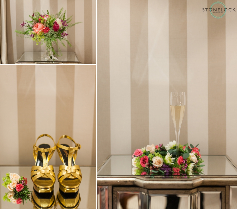 Wedding accessories, shoes, flowers and champagne