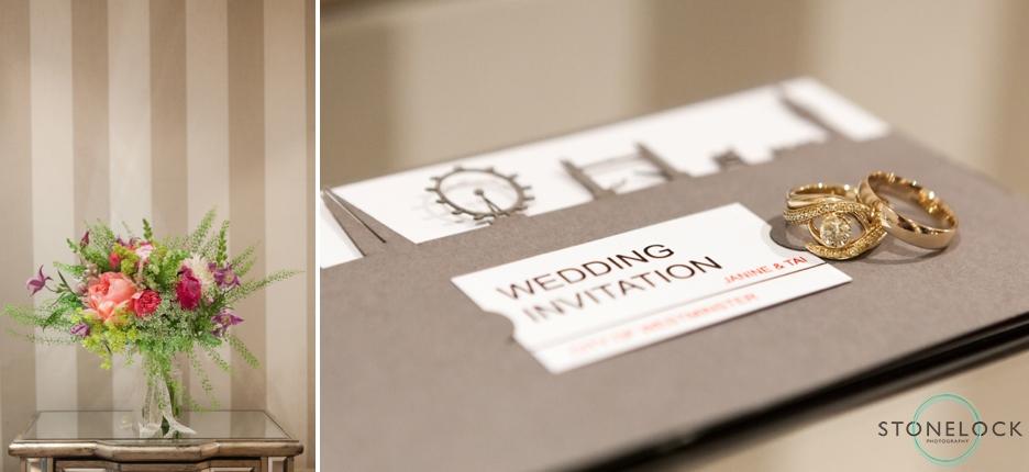 Wedding rings sitting on the wedding invitation