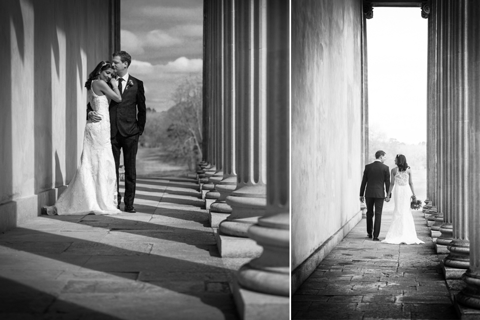 Bride & Groom portraits in the Temple at Stowe Landscape Gardens