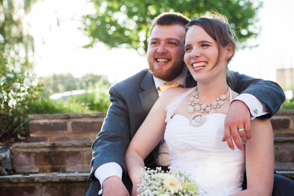 Golden hour bride & groom portrait