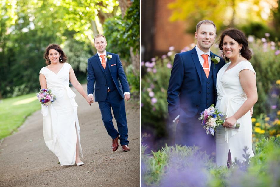 Bride & groom walk amongst the beautiful wild flowers in Camden North London