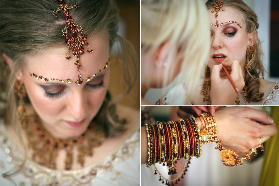 Portrait of a bride with her sari & wedding jewellery