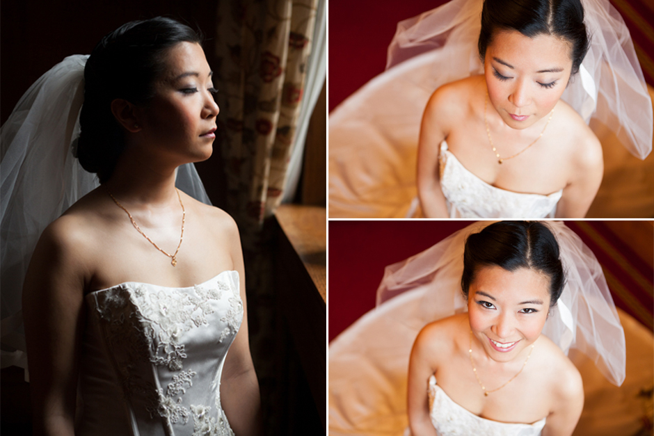 Beautiful side lit portraits of a bride before her wedding