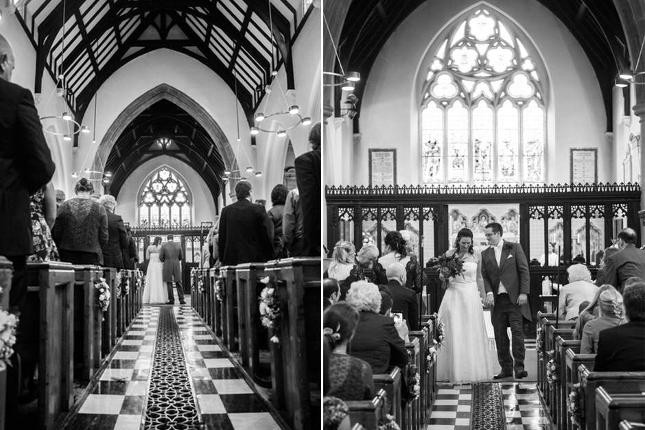The traditional Church wedding ceremony at St Mary's Church in Ewell Village