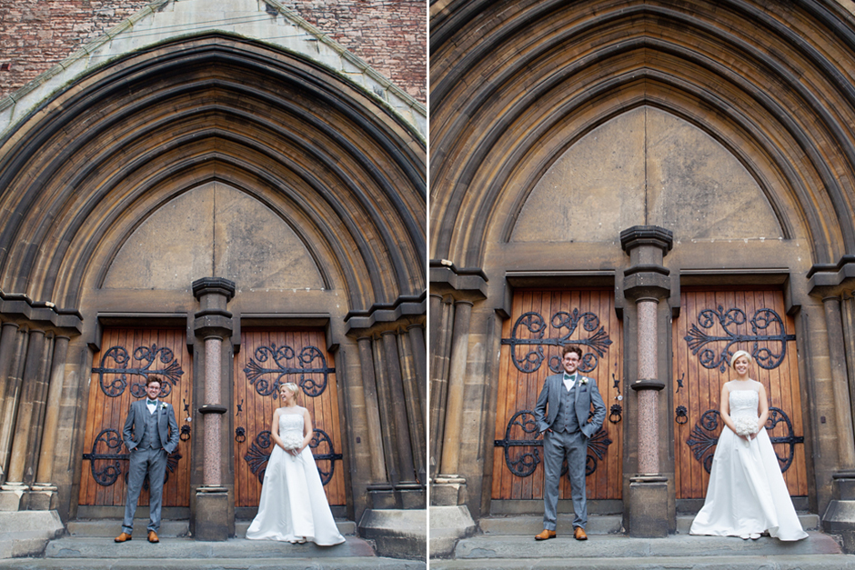 Contemporary wedding photos - the Bride & Groom are dwarfed by the giant Church doors!