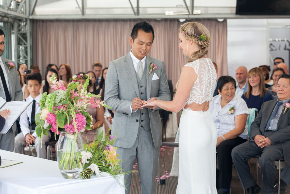 The Bride &#038; Groom exchange rings at the Deck, National Theatre< london