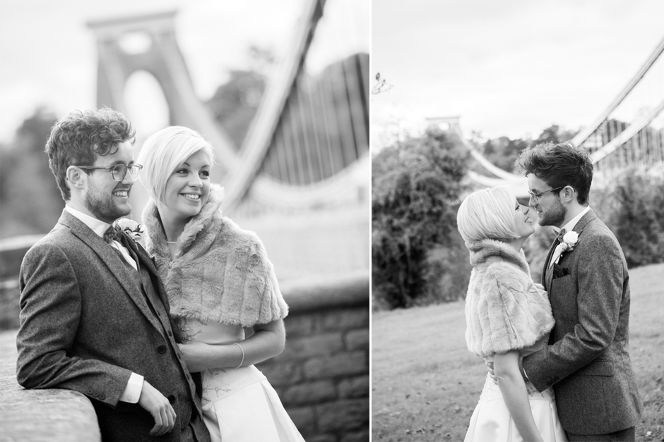 The Bride & Groom pose on the Clifton Suspension Bridge in Bristol