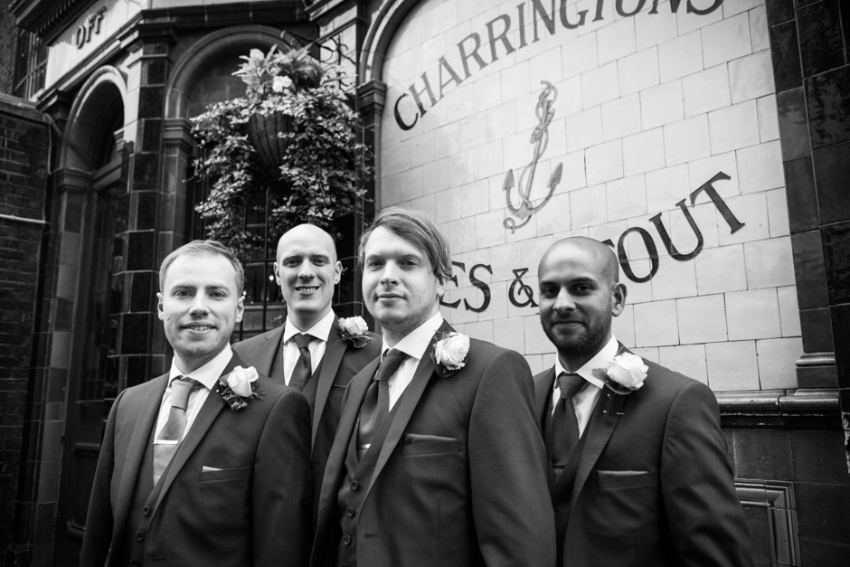 The Groom & his groomsmen outside the Prince Albert pub in Camden, North London