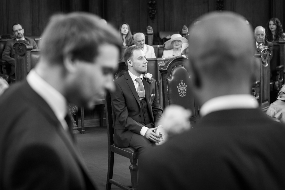 A nervous Groom awaits his Bride at Islington Town Hall