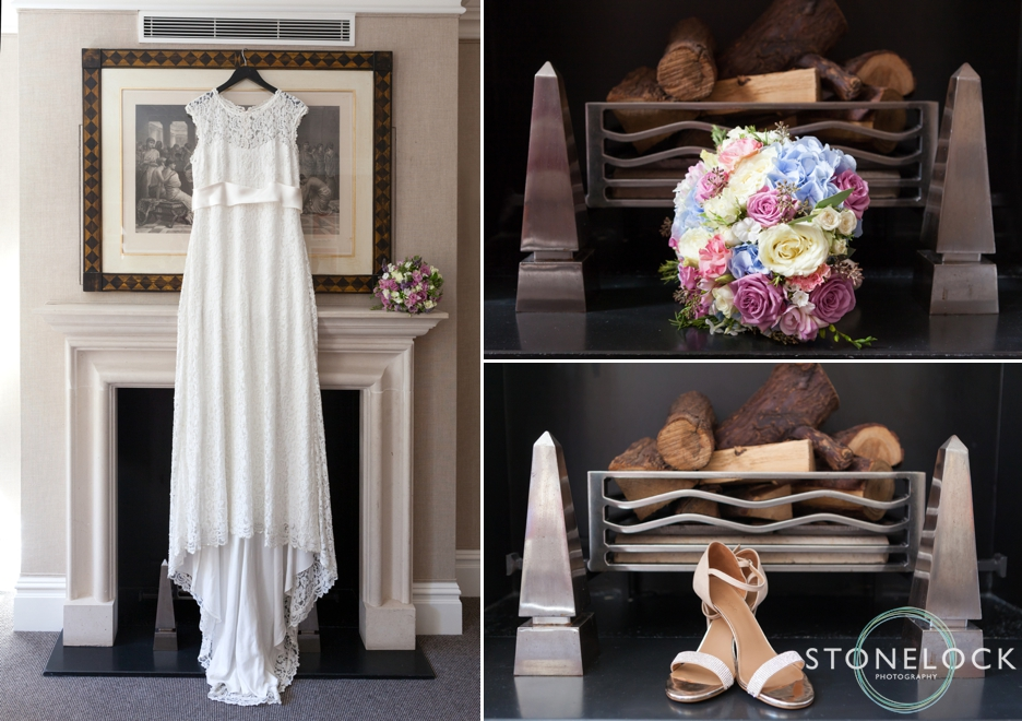 Bridal preparation, her dress, shoes and flowers, at the Knightsbridge Hotel, London