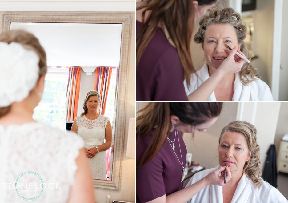 Bridal preparation, doing the make-up, at the Knightsbridge Hotel, London