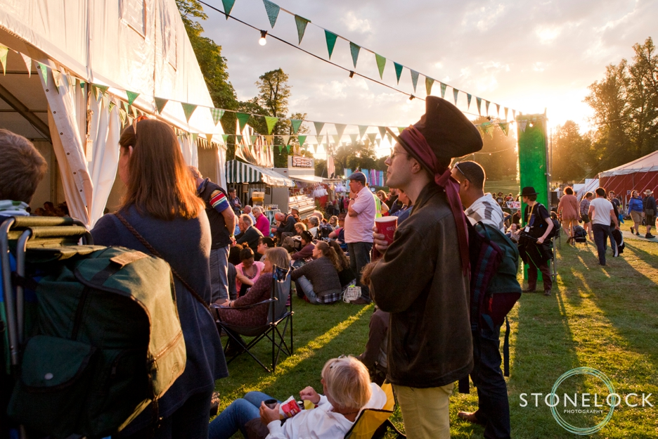 The sun sets at Greenbelt Festival 2015 at Boughton House in Northamptonshire